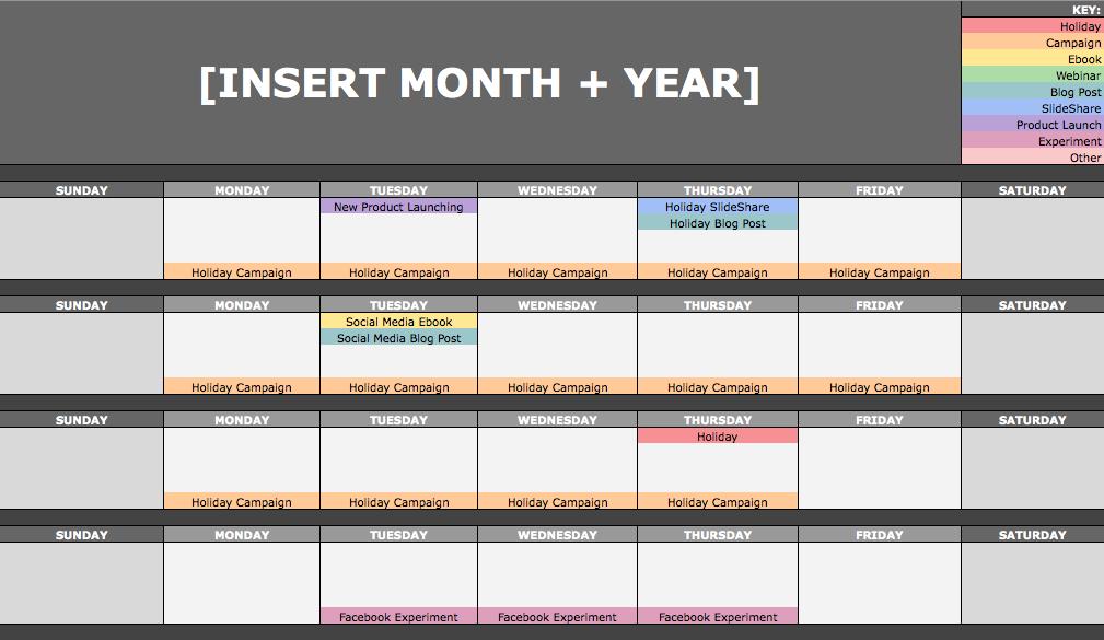 Monthly content marketing calendar by Hubspot