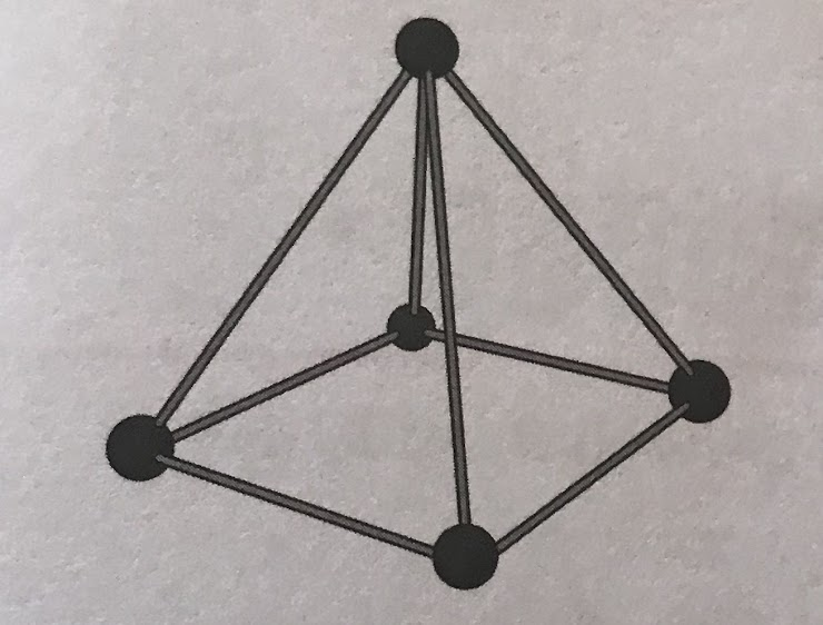 He decides to change his pyramid into a cube. How many more balls and sticks will he need to make the cube?
