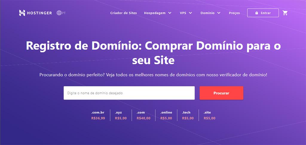 site de registro de domínio da hostinger
