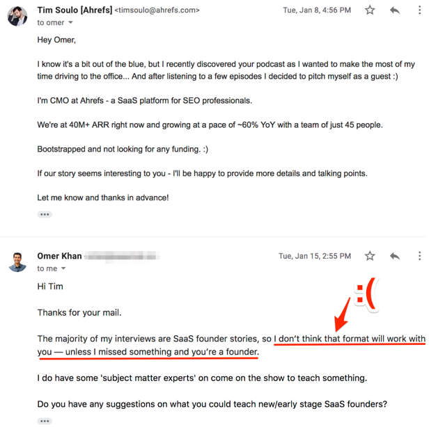 Negative email response to Tim Soulo's outreach email