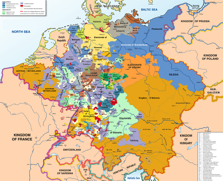 Map of the Holy Roman Empire, displaying its vast range of independent states all nominally part of the whole.