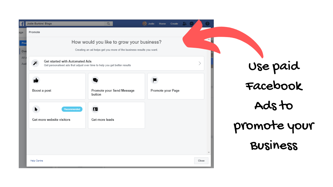 facebook business page - ads