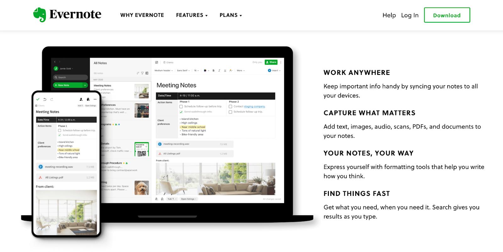 Evernote website homepage benefits