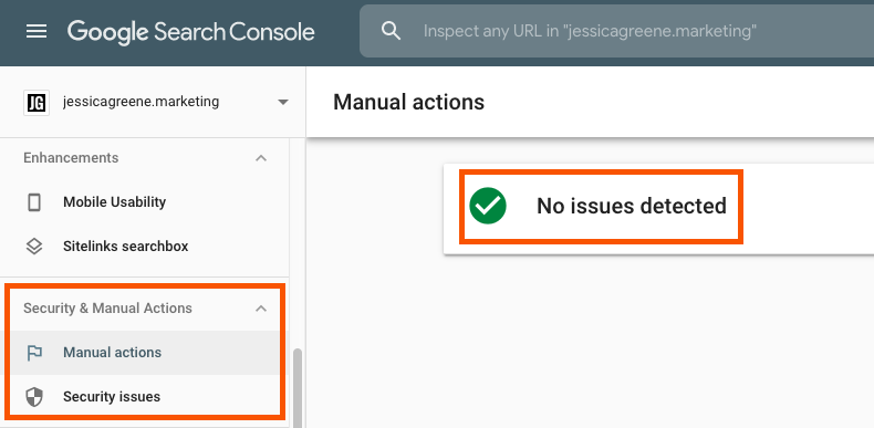 finding manual actions in google search console