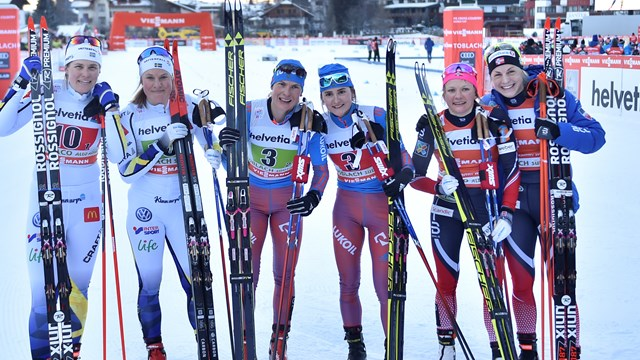 Team sprint podium in Toblach 2017