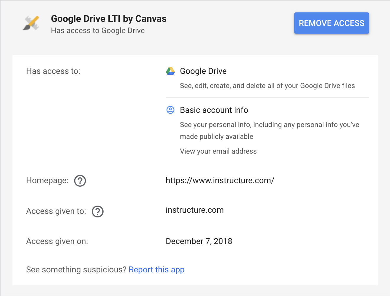 Google Drive LTI by Canvas with blue remove access button