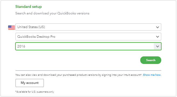 search and download quickbooks version