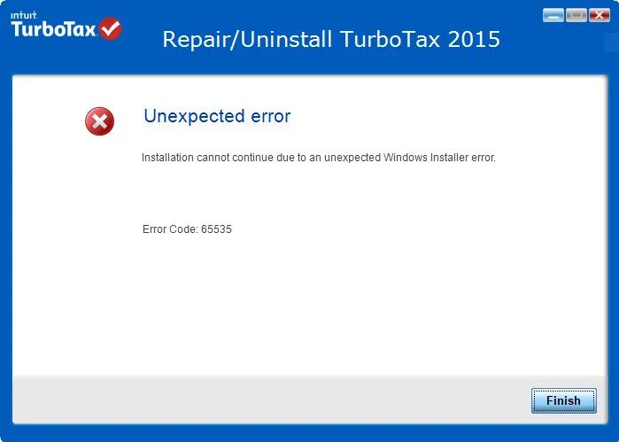 TurboTax Error 65535 message window