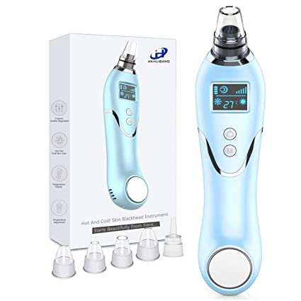 Blackhead Remover Pore Vacuum Cleaner, Hot&Cold Compress Electric Pore Vacuum Blackhead Comedone Acne Whitehead Extractor Tool Suction with 5 Porbes Facial Skin Cleaner for Men & Women (Blue)