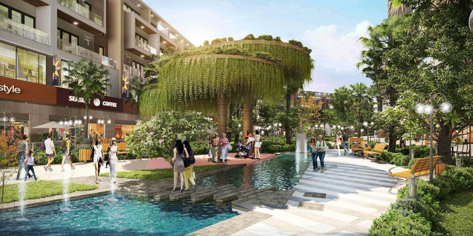 Vườn dạo bộ và đài phun nước tại trung tâm dự án Imperia Eden Park