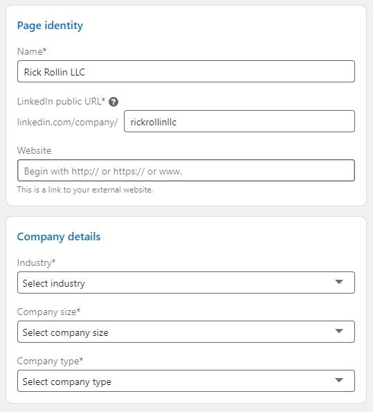 LinkedIn page information