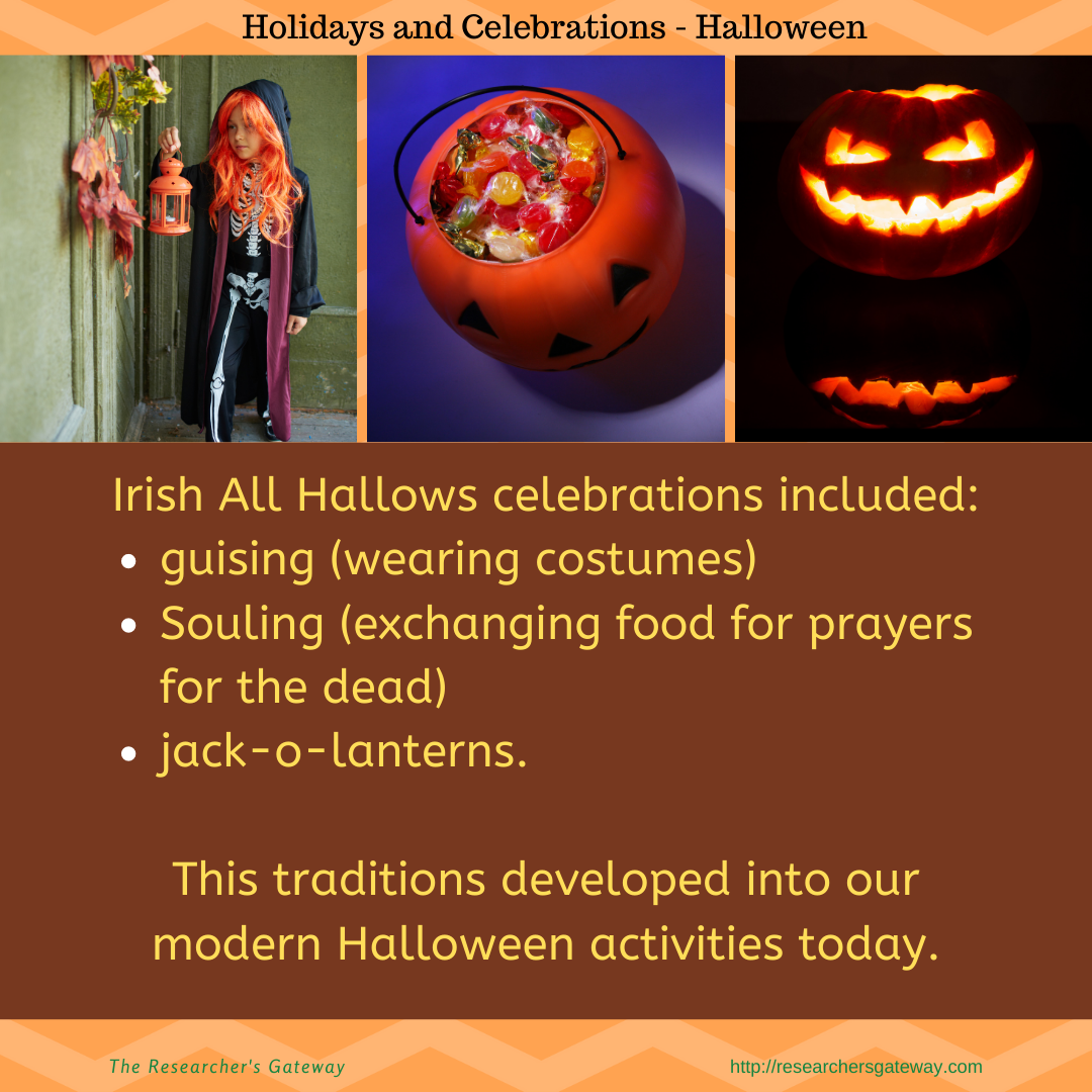 Irish Halloween celebrations included guising, souling and jack-o-lanterns.