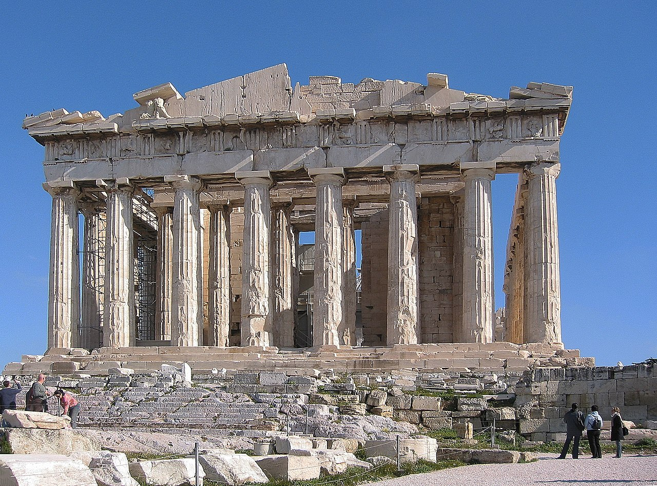 Ruins of the Parthenon with its columns holding up the remains of the roof.