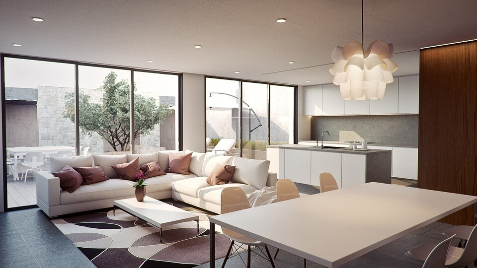 Interior of luxury home decorated in white. Vacation homes Australia
