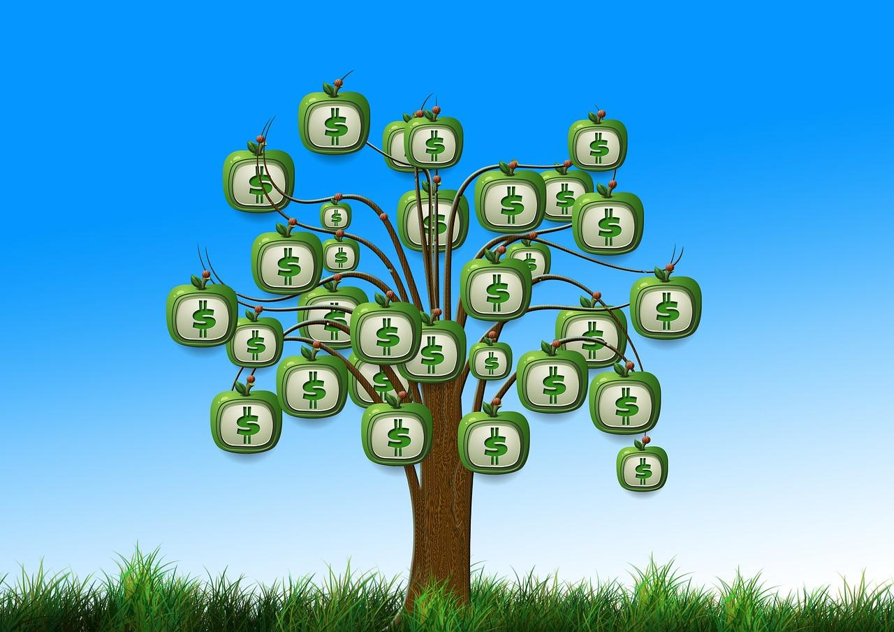 arbre avec des dollars