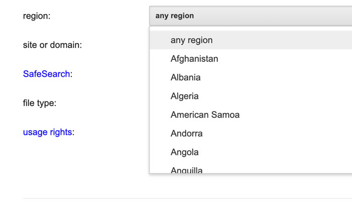 region filter on Google advanced image search