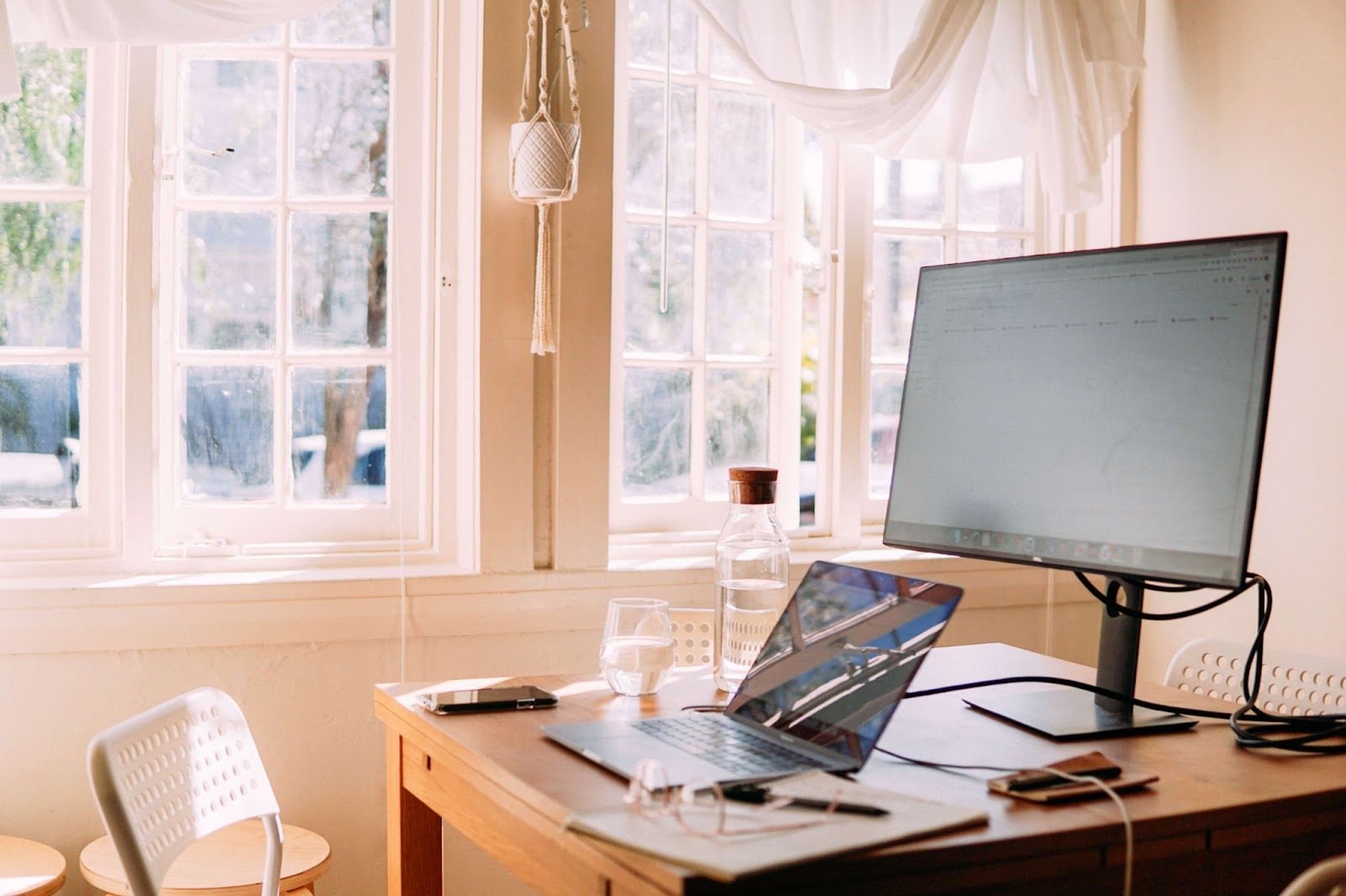 A home office setting with computers