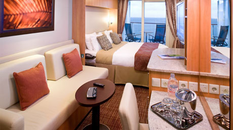 Spacious staterooms located throughout the ship, each with its own private veranda. Decks 6 & 7.