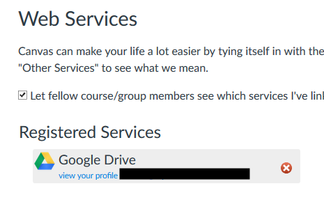 Web services menu showing Google Drive enabled