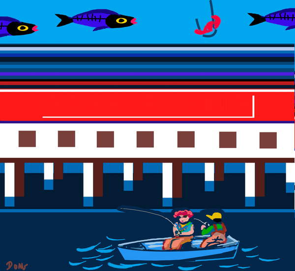 Image of Digital Art titled 'Gone Fishing', by Diana Ong, Computer Graphics, 2010, © Bridgeman Images