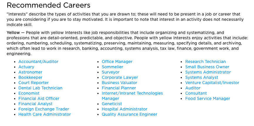 recommended careers from the career quiz