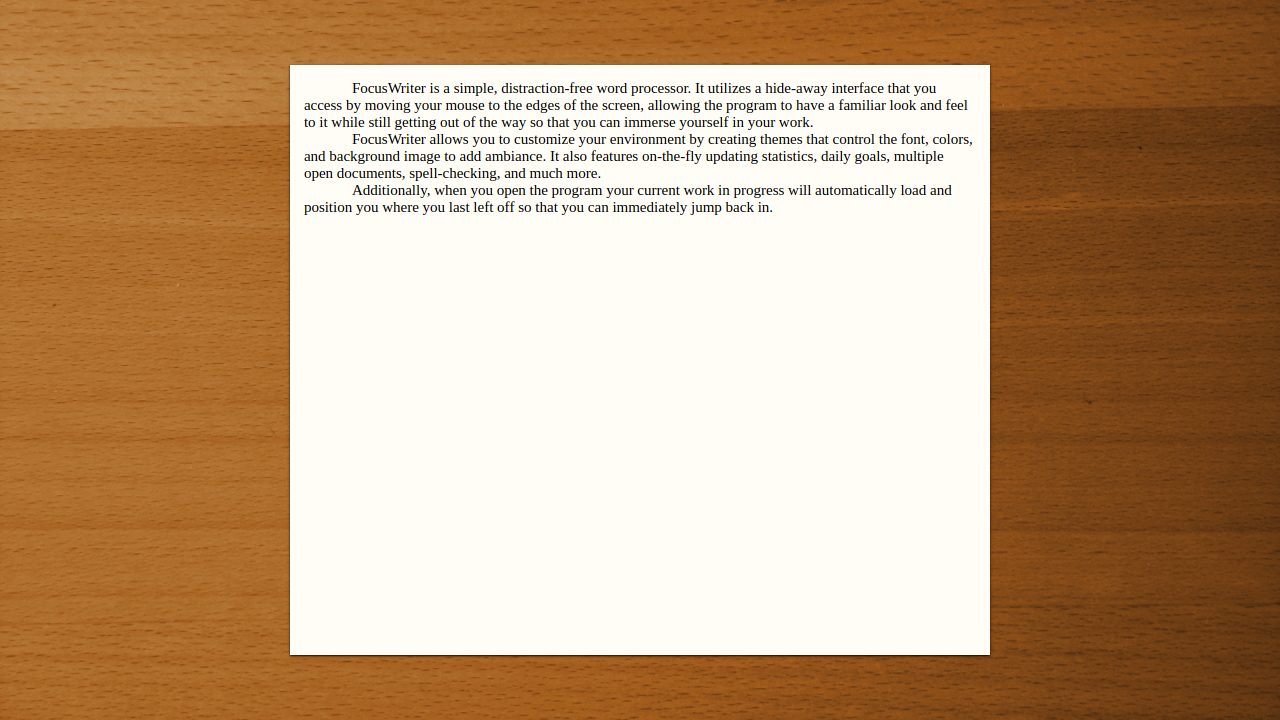 FocusWriter app interface