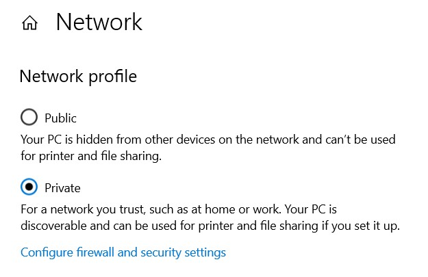 Network Profile Section in Windows Settings
