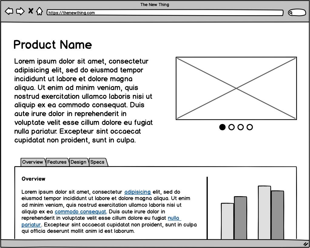 Exemple de wireframe du site Balsamiq