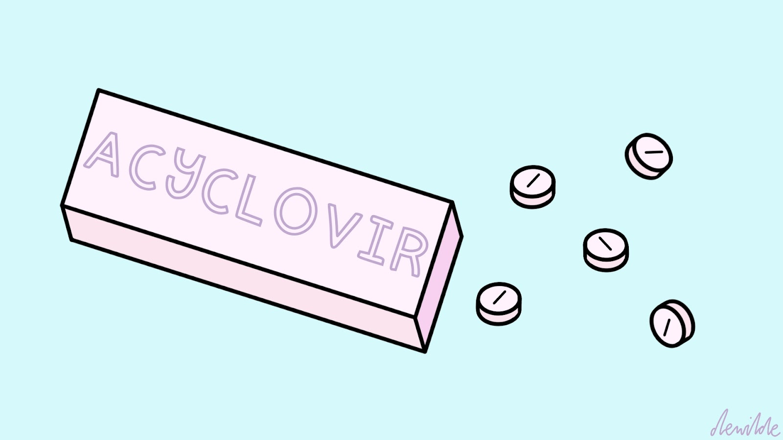 Illustration by Darcy Rae of Acyclovir, an anti-viral drug for Herpes