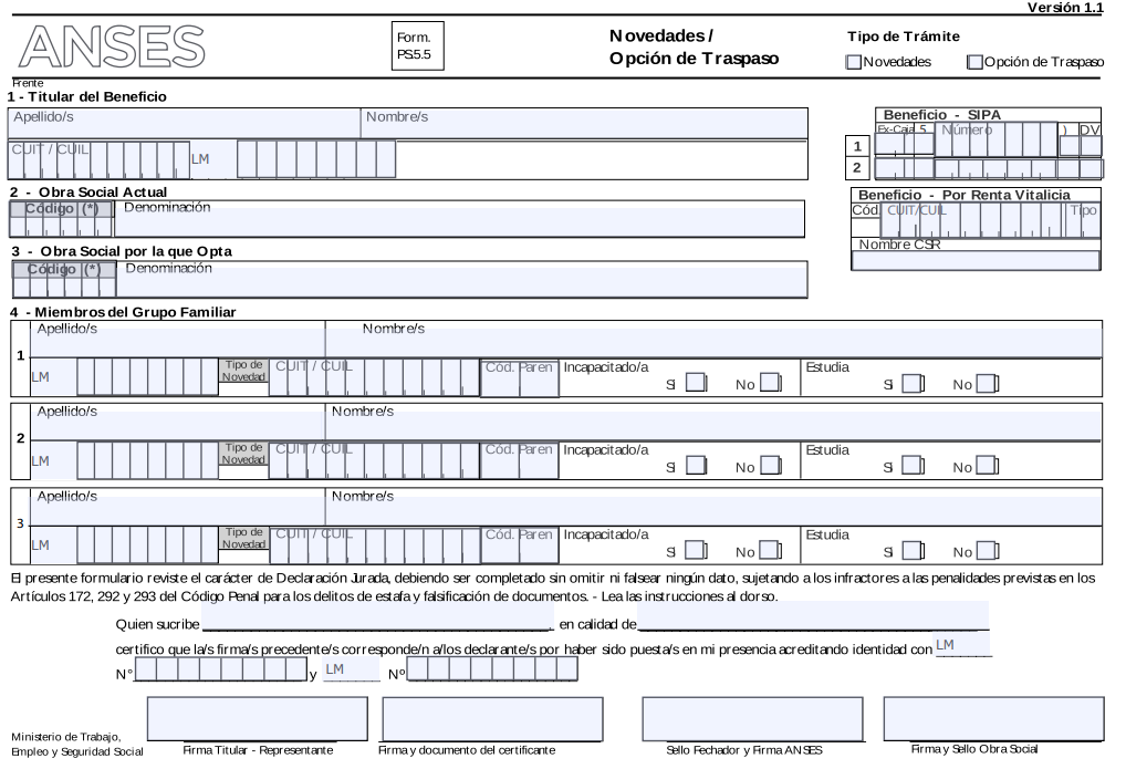 Formulario PS 5.5 - Opción de traspaso de Obra Social