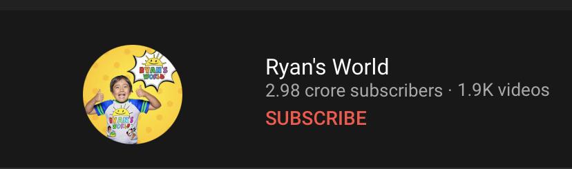 ryan kaji's youtube profile with 2.98 crore subscribers