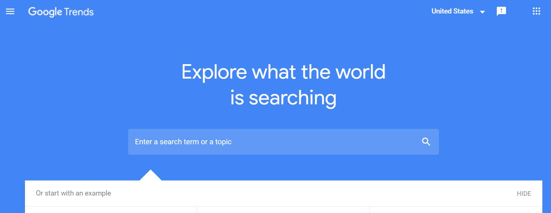 Google trends blogging tool for newbie cannabis writers homepage screenshot.