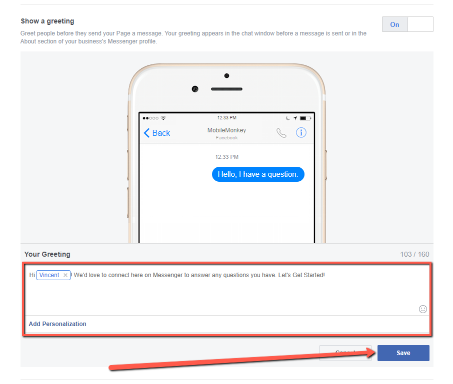 create a Messenger greeting for your Facebook Page Step 6