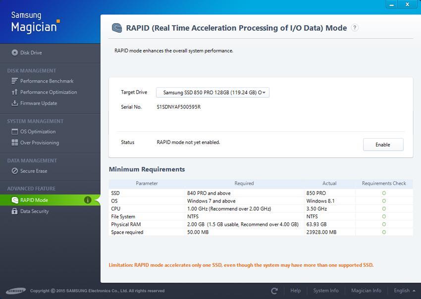 Tính năng tăng tốc ổ đĩa cao cấp Rapid Mode