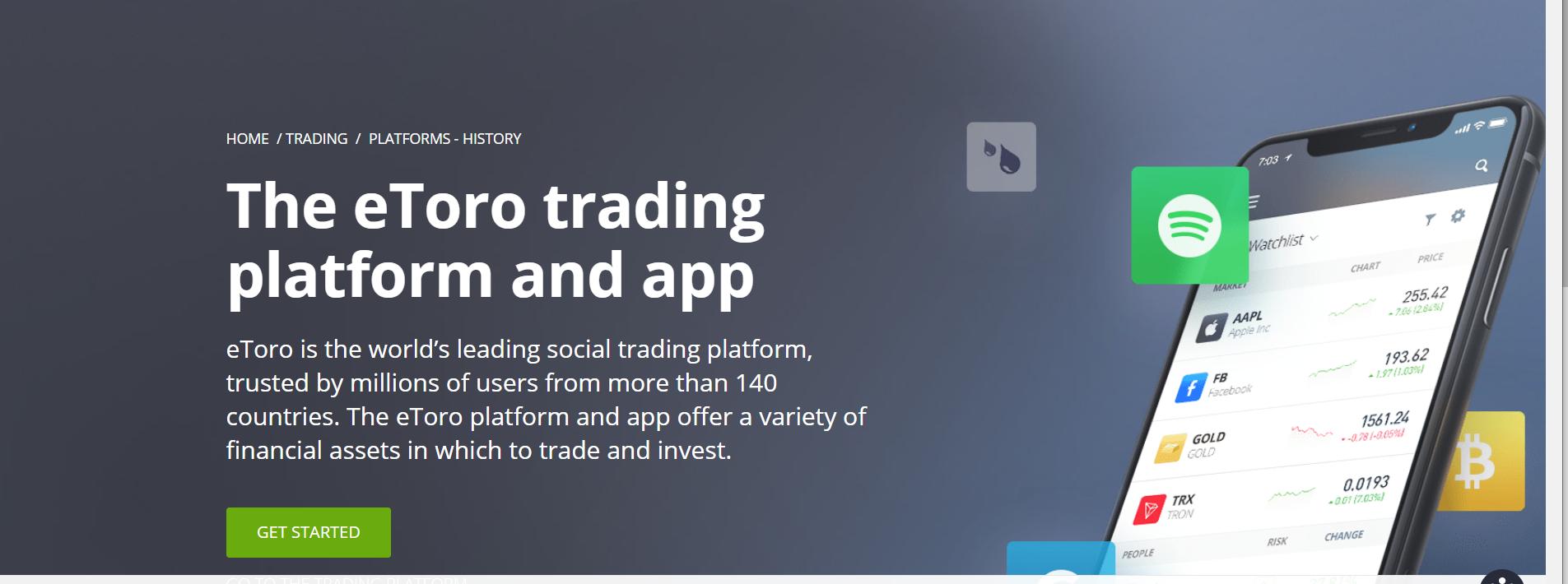 etoro UK broker main page