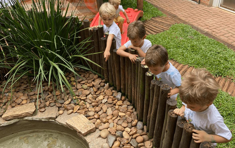 A imagem mostra um grupo de crianças observando um lago.