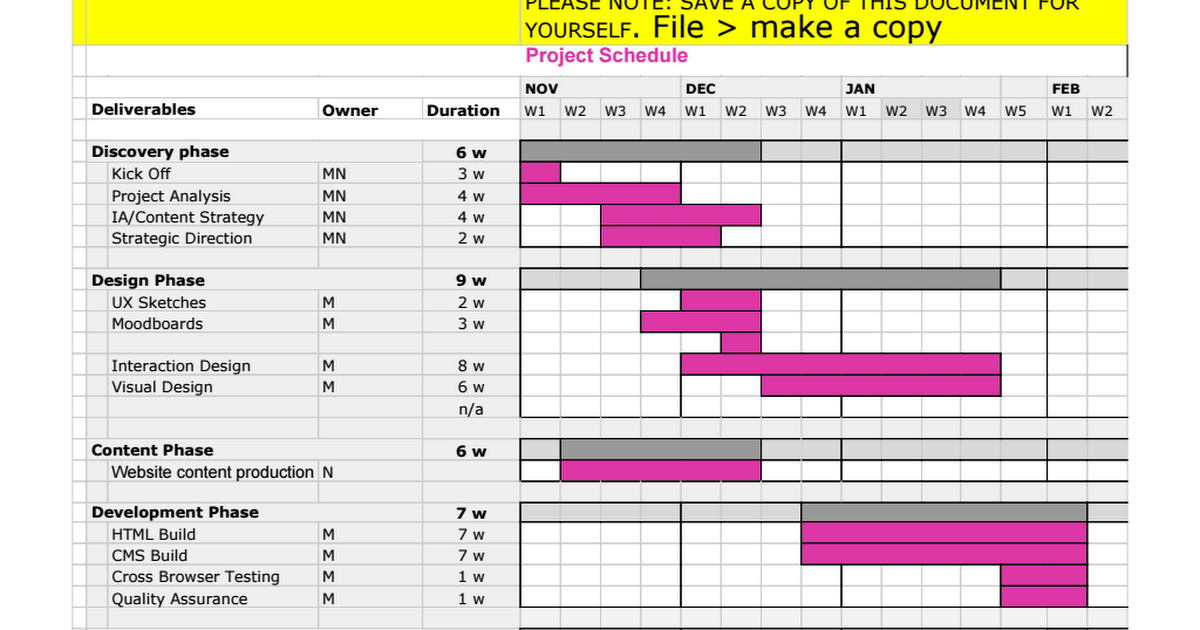 Generic Project Workback Schedule Web Redesign Google Sheets - Google sheets schedule template