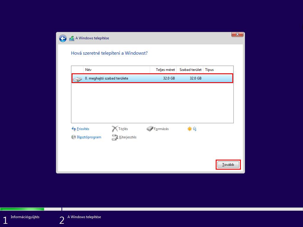 Windows 10 telepítési hely megadása