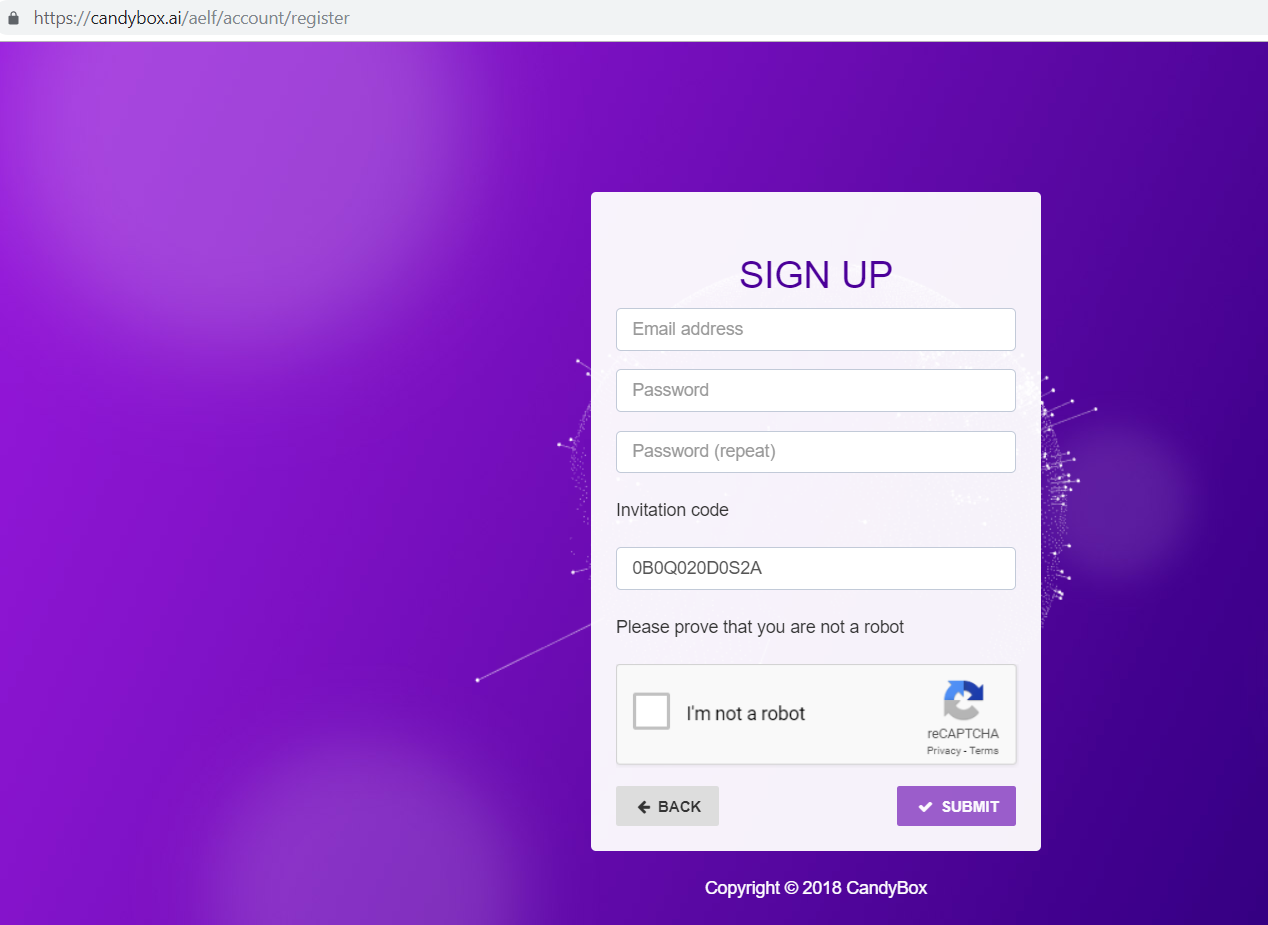 Candybox screen shot of the signup form.