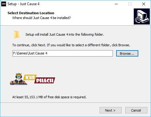 Chạy file setup.exe để bắt đầu cài đặt Just Cause 4