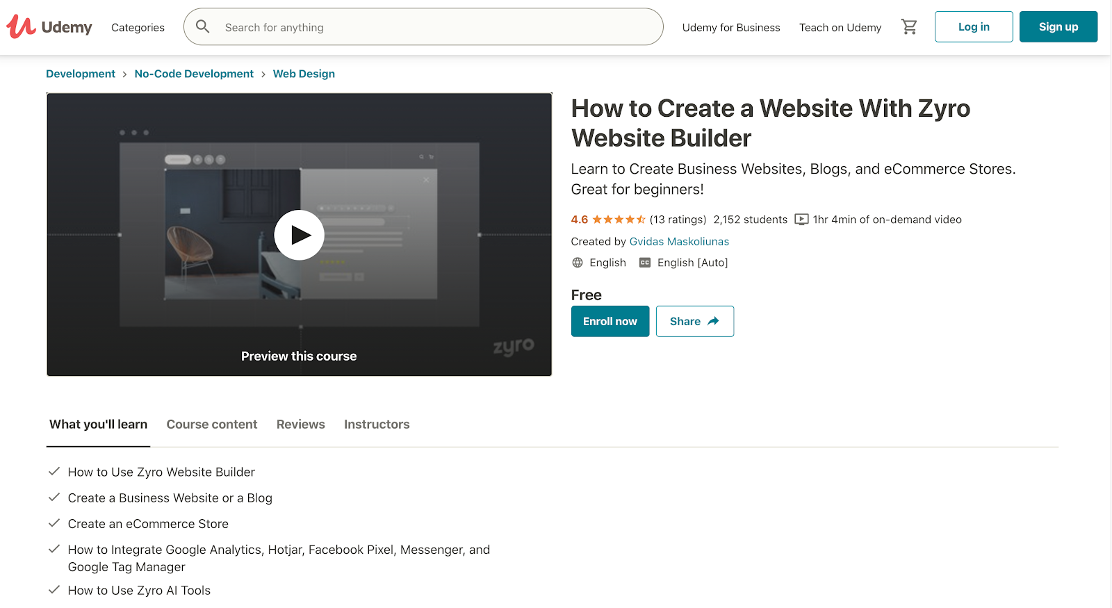 Udemy's web design class with Zyro