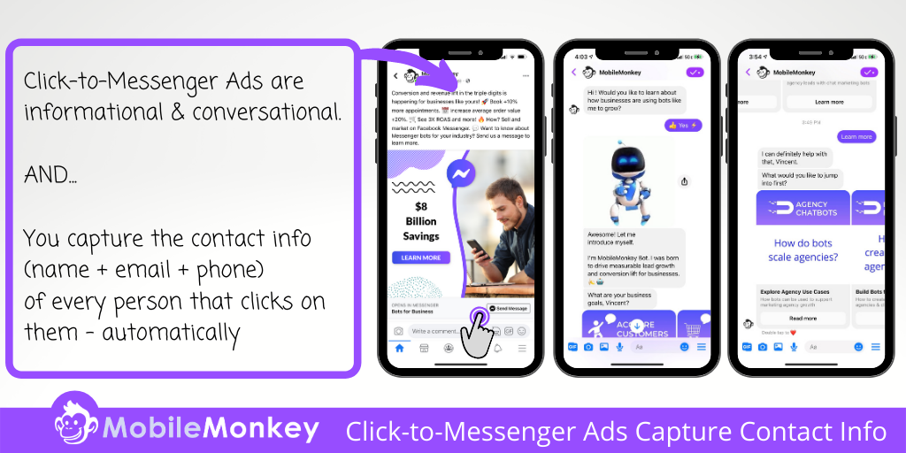 best Facebook retargeting strategy: Use Click-to-Messenger ads to capture contact information.