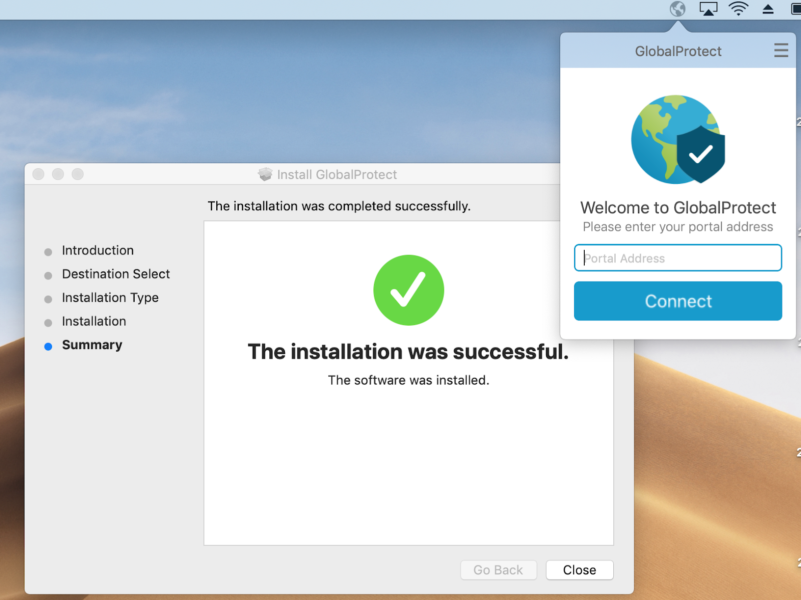 Installation Success confirmation window and close button.