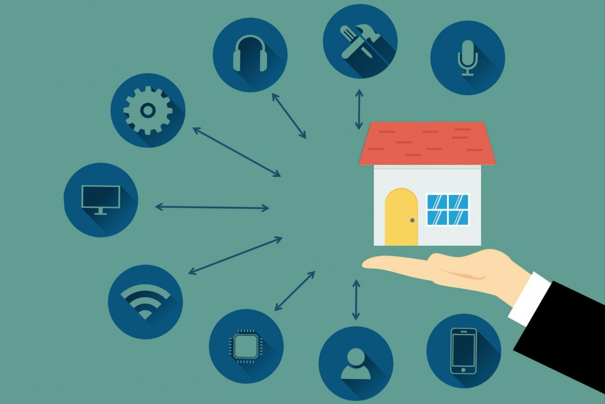 smart home system collection bulb camera security lights safe connection setup fan padlock wifi house hand air technology automation icon icons building control interface management blue text product font line design circle graphic design diagram illustration angle graphics brand