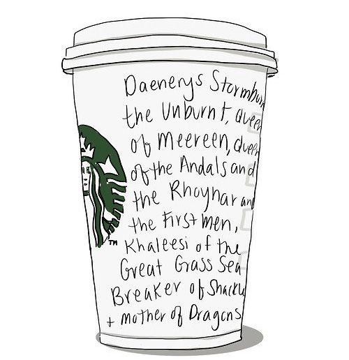 Ilustração de copo do Starbucks com o nome completo de Daenerys Targaryen, de Game of Thrones