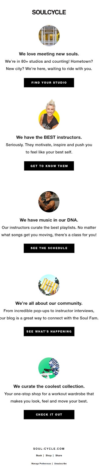soul cycle value proposition email