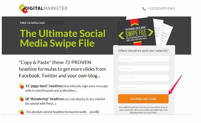 Sử dụng một CTA như Digital Marketer để tránh nhầm lẫn và tăng chuyển đổi trên trang đích của bạn