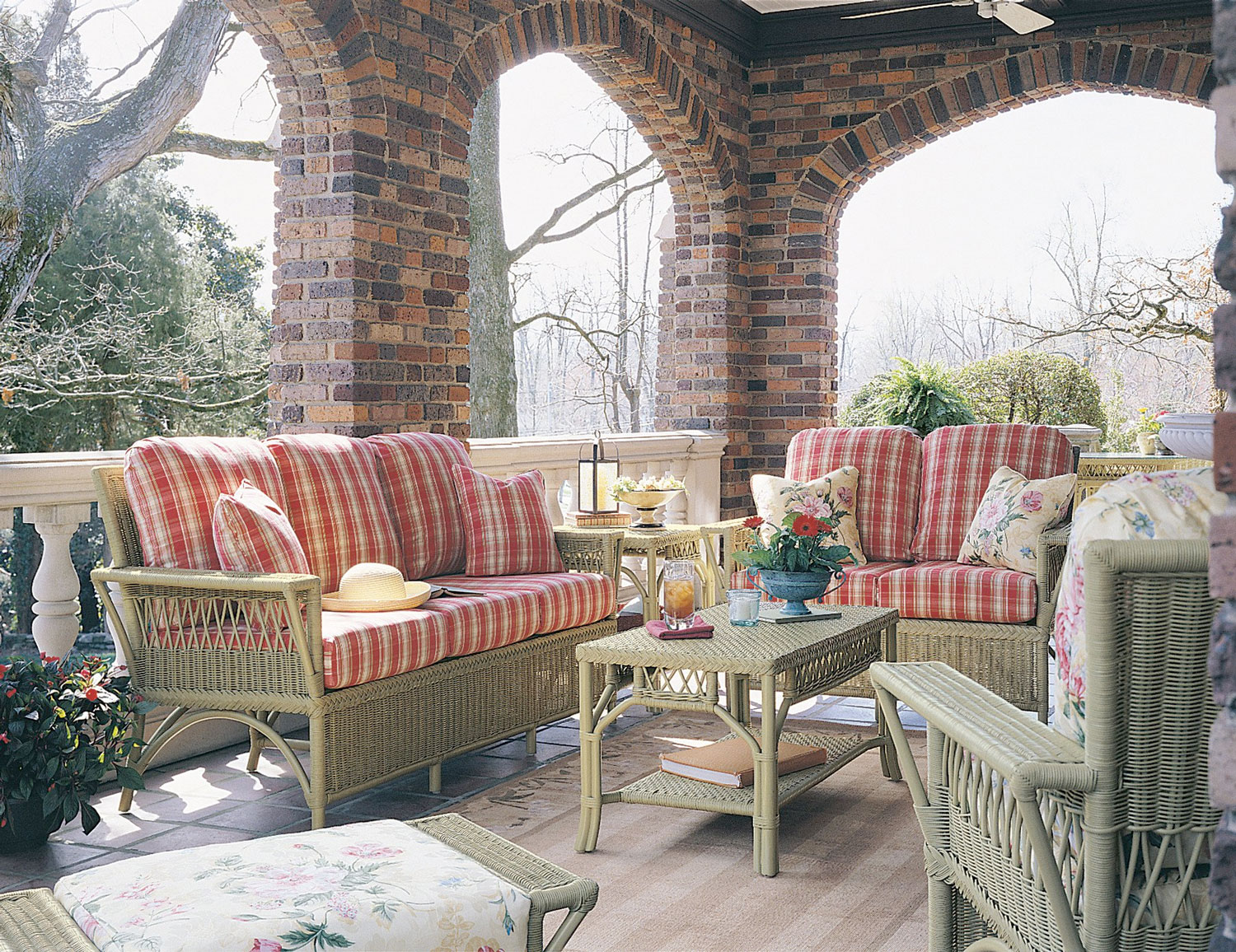 wicker seating on front porch