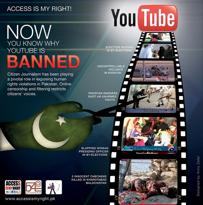 "A poster from B4A's ""Access is My Right"" campaign criticizing the ban on YouTube."