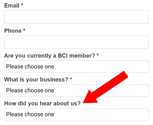 web form with how did you hear about us question